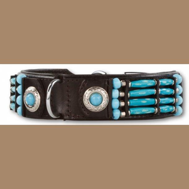 Halsbånd læder Indianer Blue River 35 mm